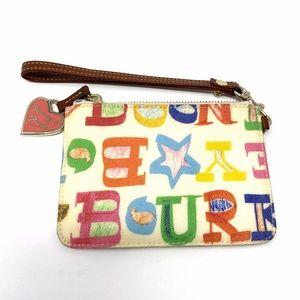 Dooney & Bourke Canvas Multi Color Letter Wristlet